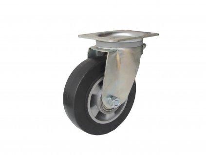 KOLEČKO OTOČNÉ S PŘÍRUBOU, ELASTICKÁ PRYŽ 37125-06 (Průměr kola (mm) 250, Nosnost (kg) 400, Rozteč otvorů (mm) 160 x 120)