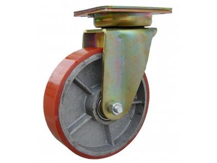 Kolečko otočné s přírubou, polyuretanová obruč 39180-06 (Průměr kola (mm) 250, Nosnost (kg) 1500, Rozteč otvorů (mm) 160 x 120)