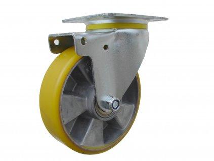 kolečko otočné s přírubou, polyuretanová obruč 55125-06 (Průměr kola (mm) 250, Nosnost (kg) 300, Rozteč otvorů (mm) 107 x 80)