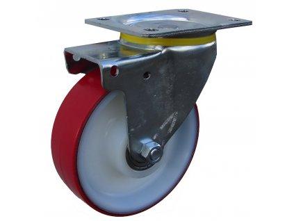 KOLEČKO OTOČNÉ S PŘÍRUBOU, POLYURETANOVÉ 49080-04 (Průměr kola (mm) 100, Nosnost (kg) 80, Rozteč otvorů (mm) 60 x 80)