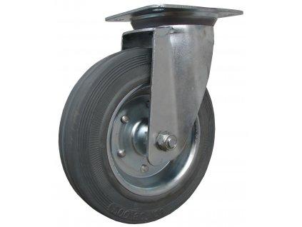 Kolečko otočné s přírubou, šedá pryž  64125-04 (Průměr kola (mm) 200, Nosnost (kg) 205, Rozteč otvorů (mm) 105 x 80/75)