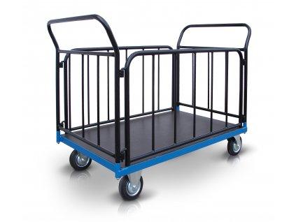 Plošinový vozík 2 x madlo 2 x bočnice se svislými příčkami 500 kg PROFI 52711-41 (Rozměry (mm) 800 x 1300)
