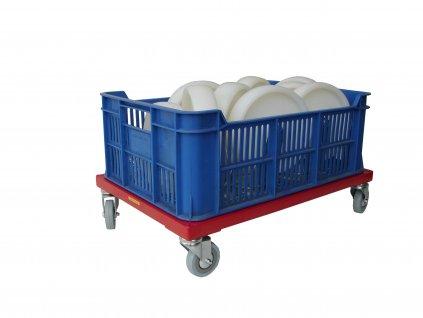 Plošinový vozík bez madla pre 1 plastovú prepravku 150 kg 51007-05