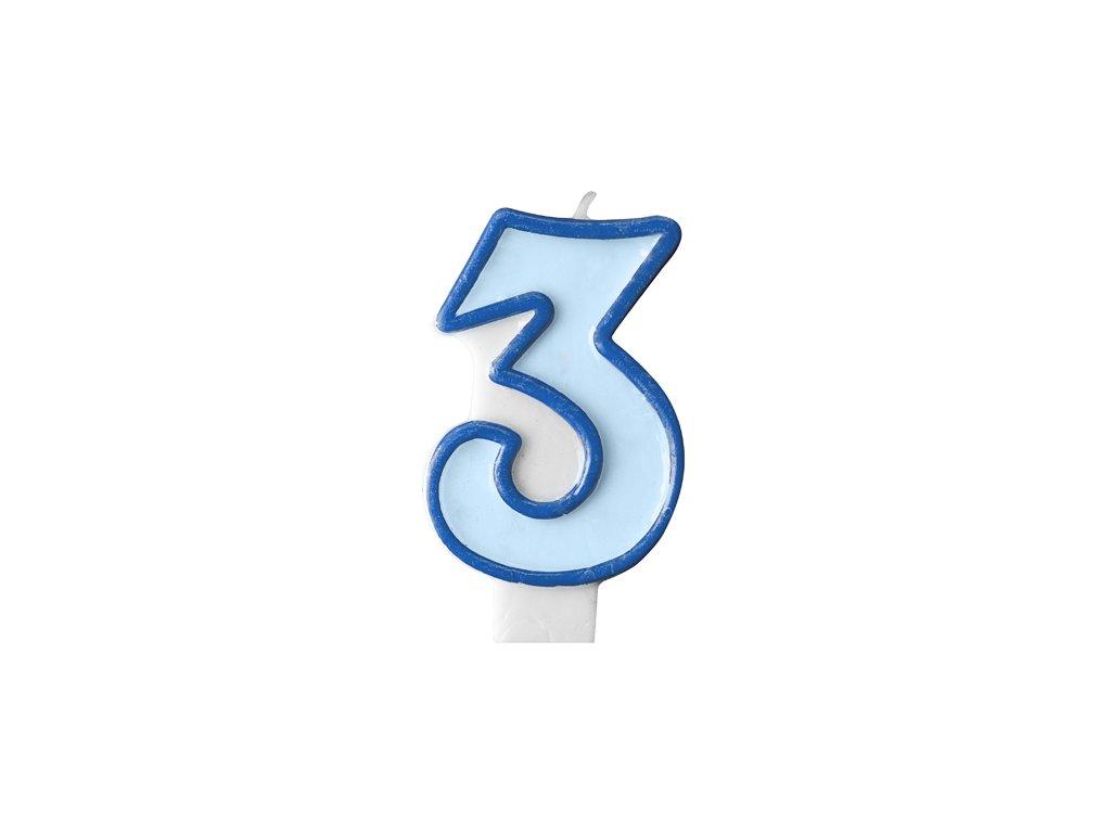 688 narodeninova sviecka s cislom 3 modra
