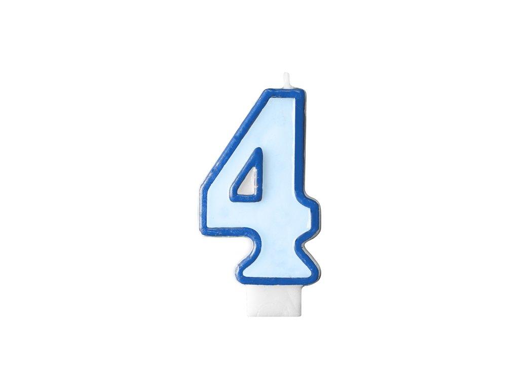 694 narodeninova sviecka s cislom 4 modra