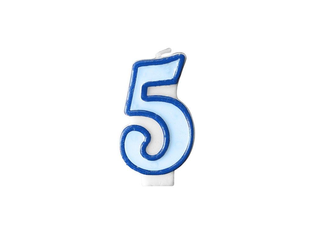 700 narodeninova sviecka s cislom 5 modra