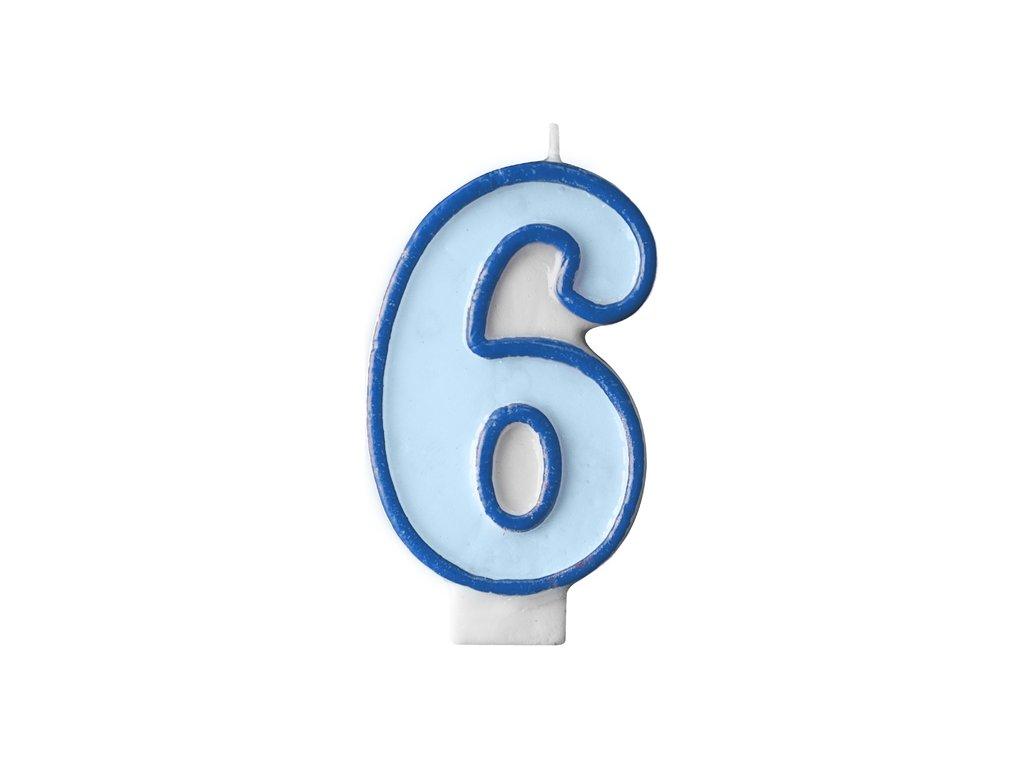 706 narodeninova sviecka s cislom 6 modra