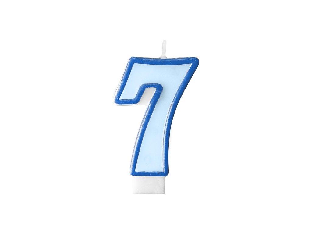 712 narodeninova sviecka s cislom 7 modra