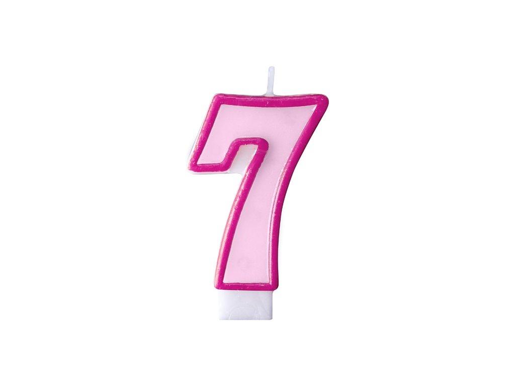 715 narodeninova sviecka s cislom 7 ruzova