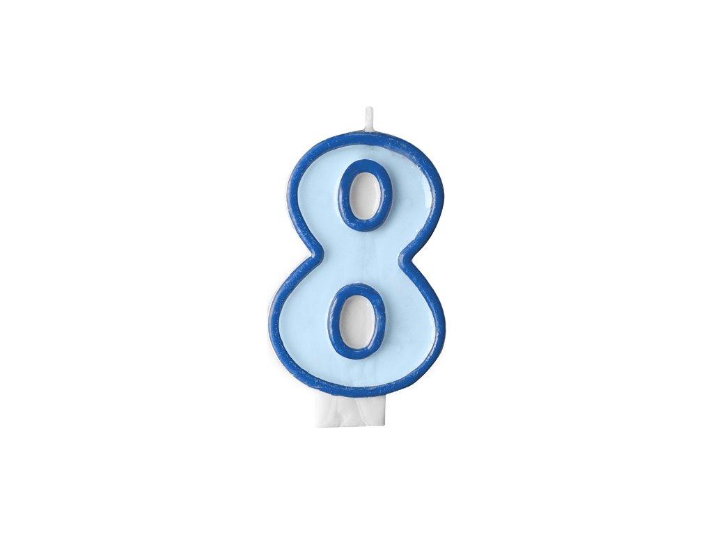 718 narodeninova sviecka s cislom 8 modra