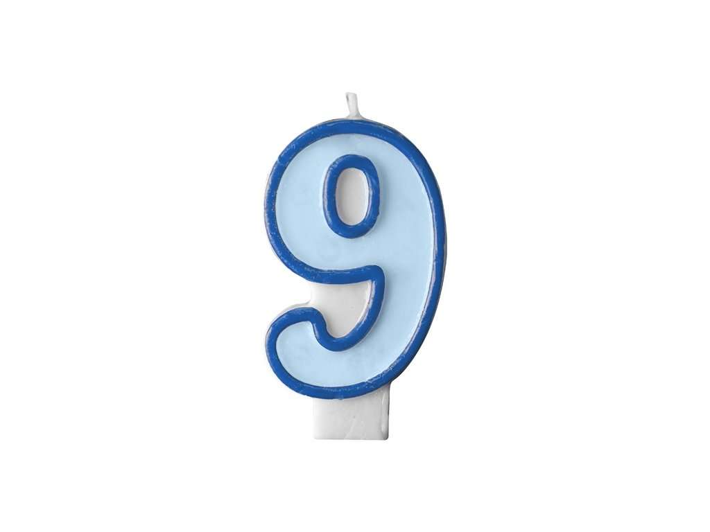 724 narodeninova sviecka s cislom 9 modra