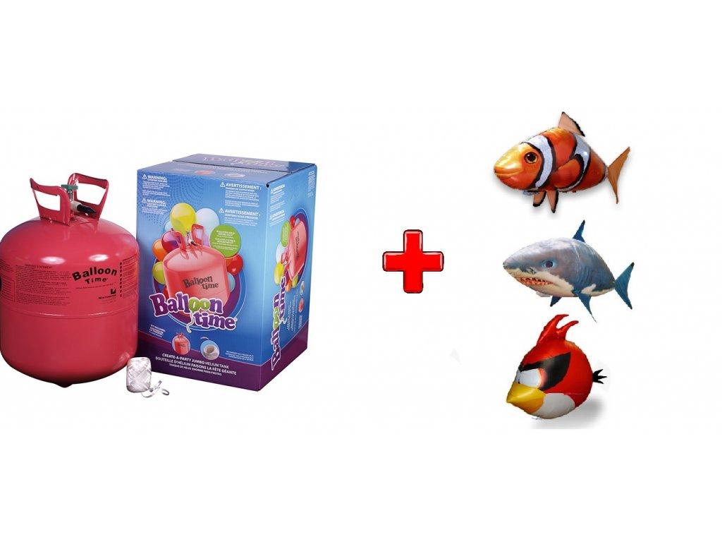 Hélium na 30 balónikov Balloon Time + AirSwimmers (Shark Žralok + Hélium na 30 balónov)
