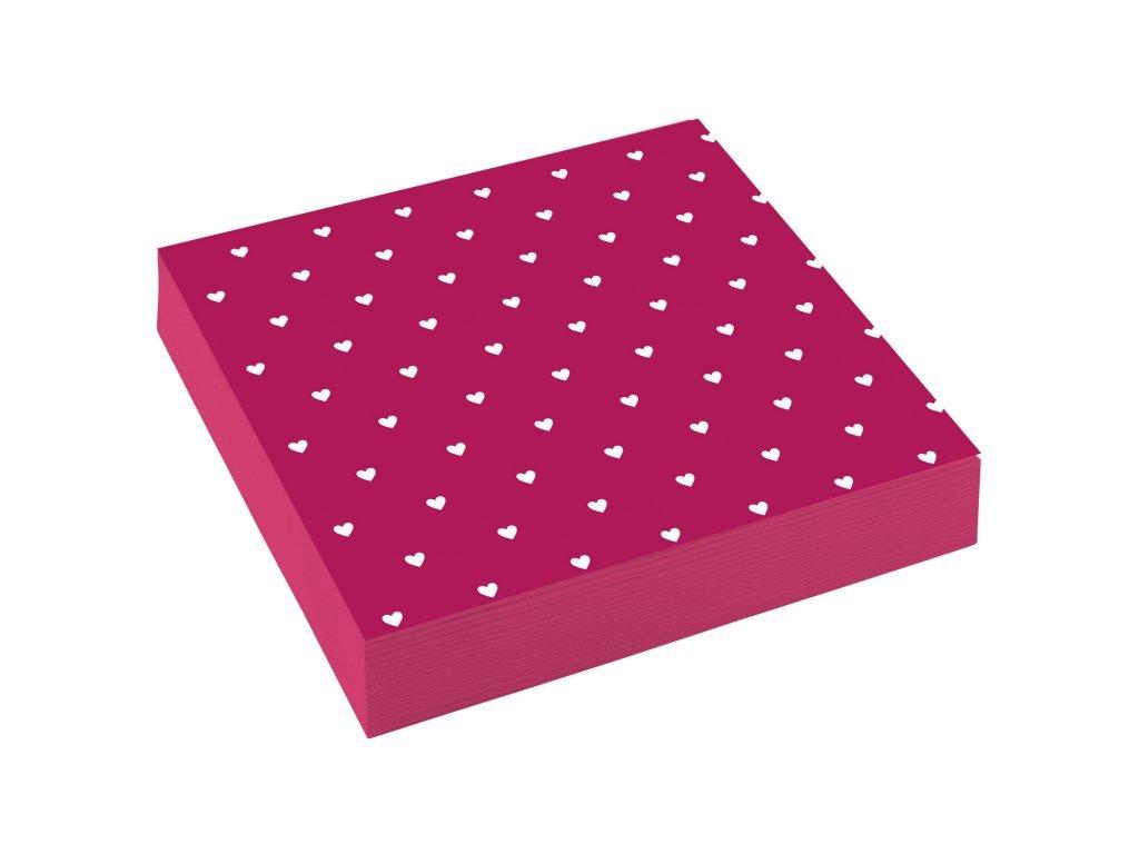 Servítky - červené so srdiečkami 33 x 33 cm