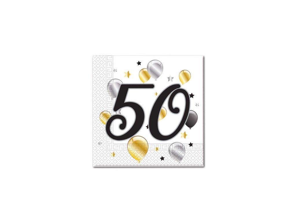 Servítky s číslom 50 - milestone  33 x 33 cm 20 ks
