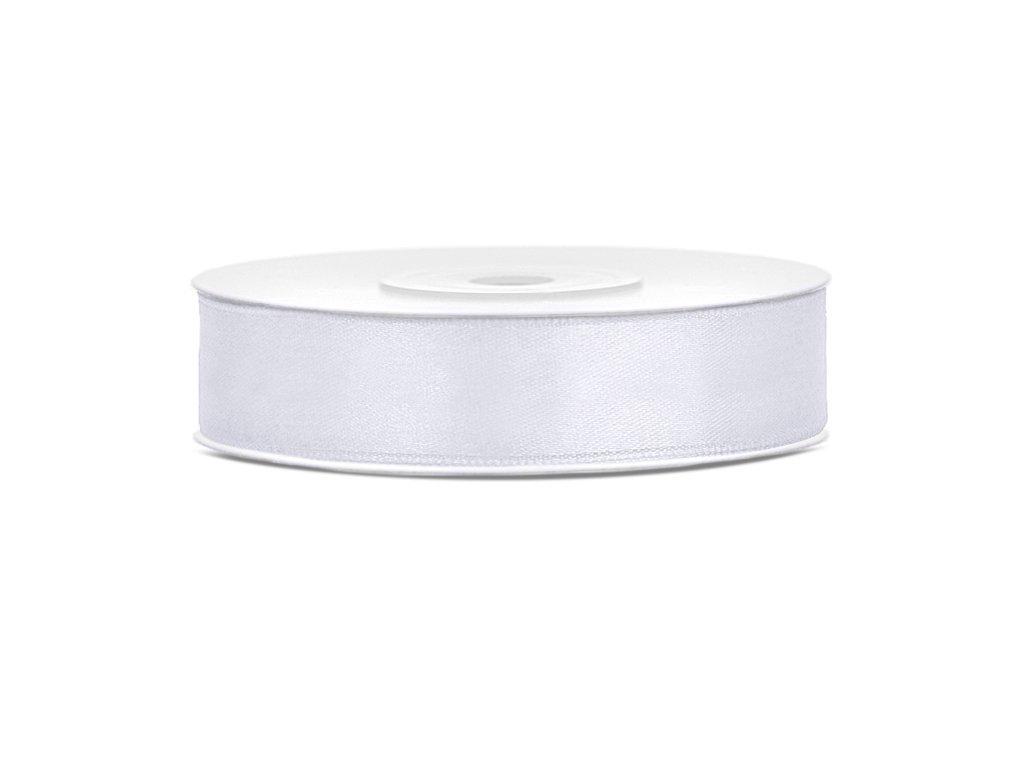 Satenová stuha - biela 12 mm / 25 m