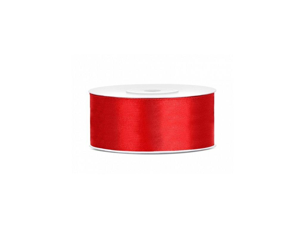 Saténová stuha - červená 25 mm / 25 m