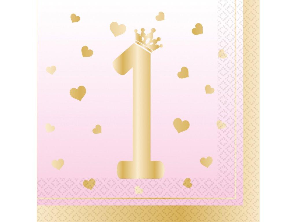 58017 servitky prve narodeniny ruzove 33 x 33 cm 16 ks