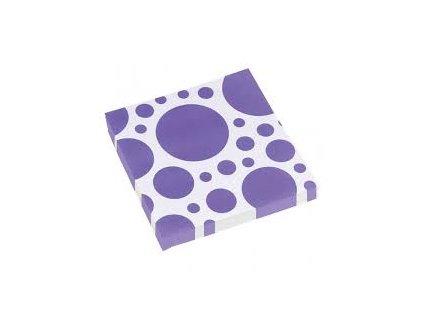 Servítky fialové bodkované 33 x 33 cm 20 ks