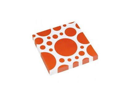 Servítky oranžové bodkované 33 x 33 cm 20 ks
