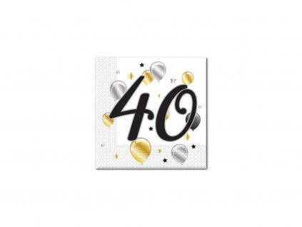 Servítky s číslom 40 - milestone  33 x 33 cm 20 ks