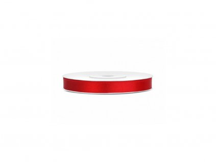 Saténová stuha - červená 6 mm / 25 m