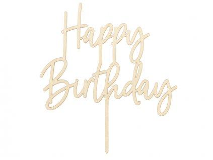 Drevený zápich na tortu - Happy Birthday 16,5 cm