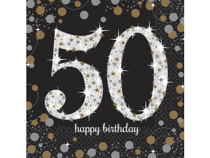 33878 servitky 50 narodeniny trblietava zlata 33 x 33 cm