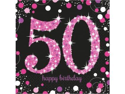 33977 servitky 50 narodeniny trblietava ruzova 33 x 33 cm