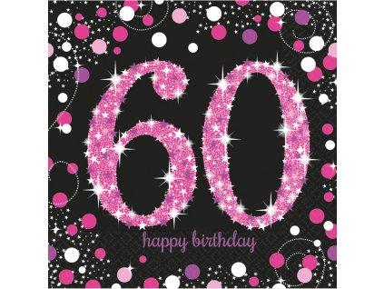 33974 servitky 60 narodeniny trblietava ruzova 33 x 33 cm