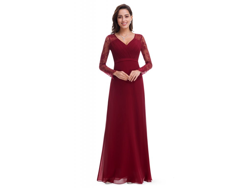 Ever pretty vínové šaty skrajkovým rukávem 72bcf20cd4