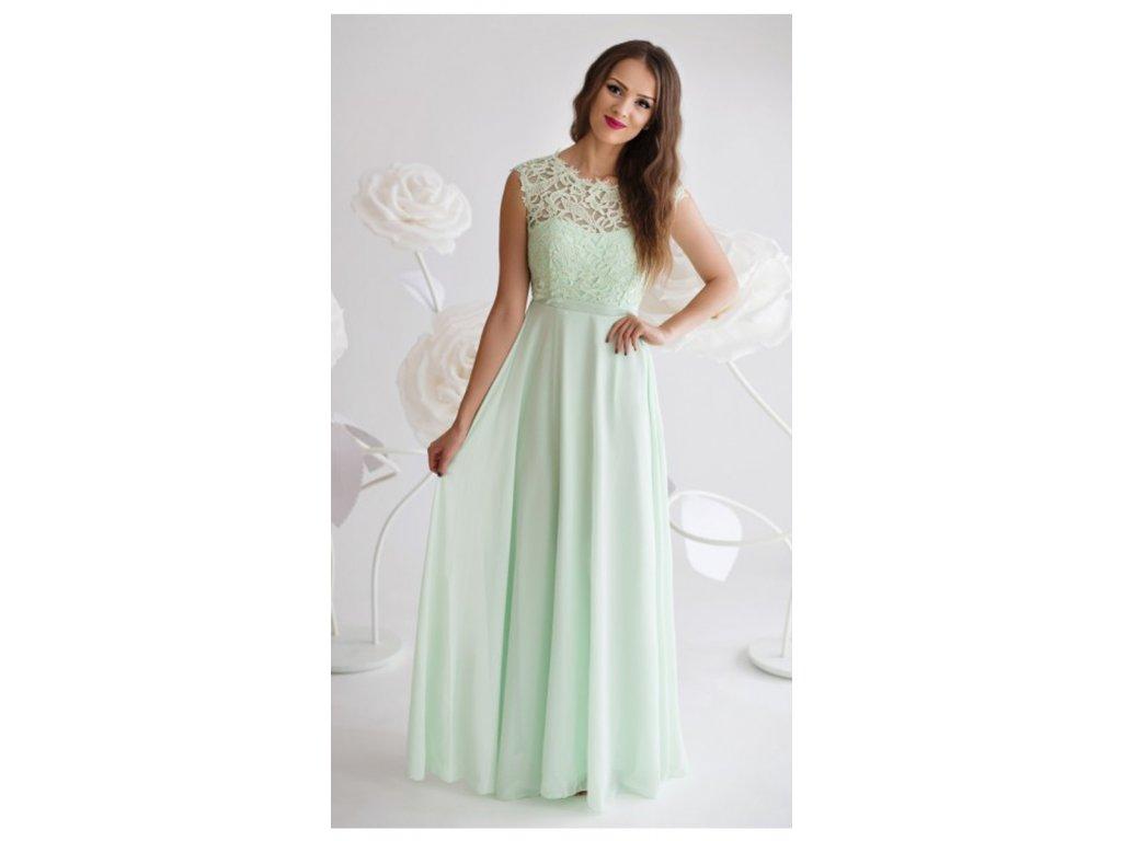 fe13c6e492a5 Mentolové šaty s krajkovým živůtkem