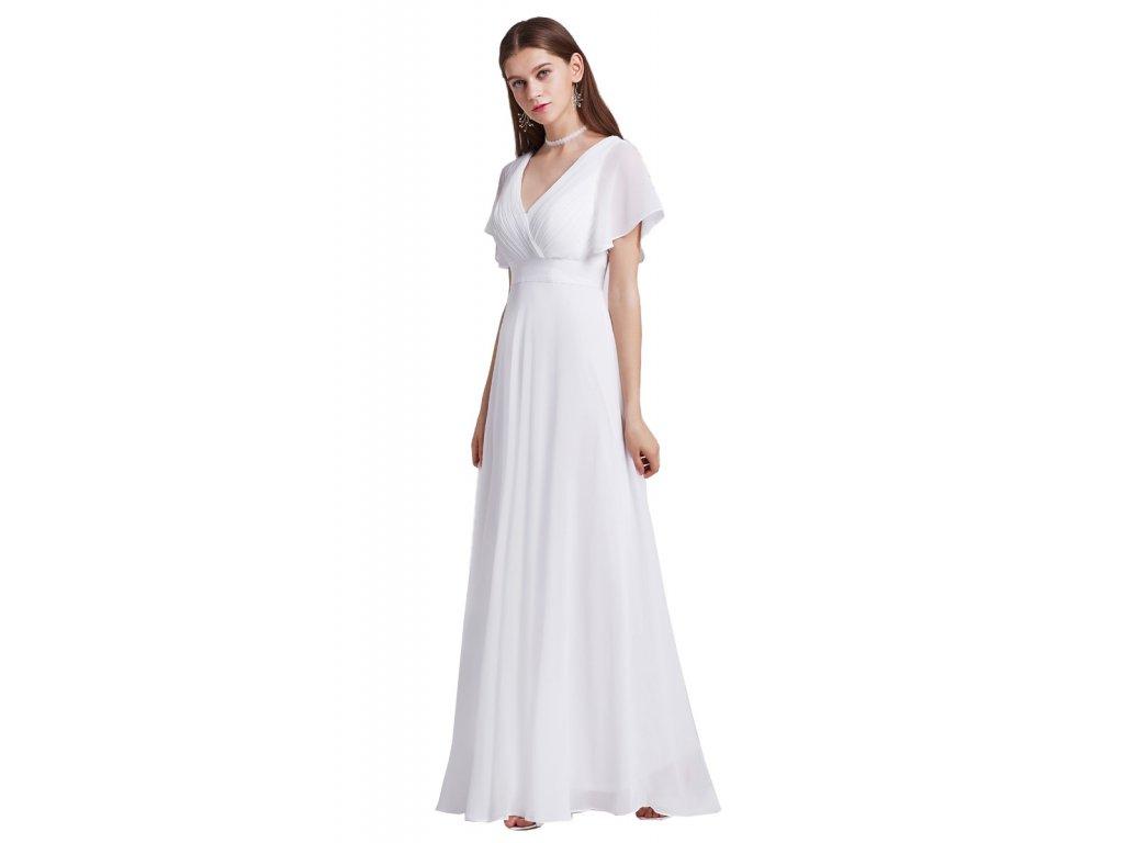 d602af5088e8 Bílé svatební šaty s volánkovým rukávem