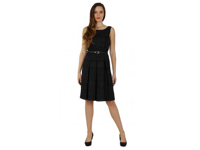 Společenské šaty se skládanou sukní a páskem