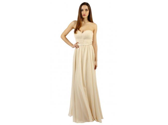 Plesové korzetové šaty v krémové barvě
