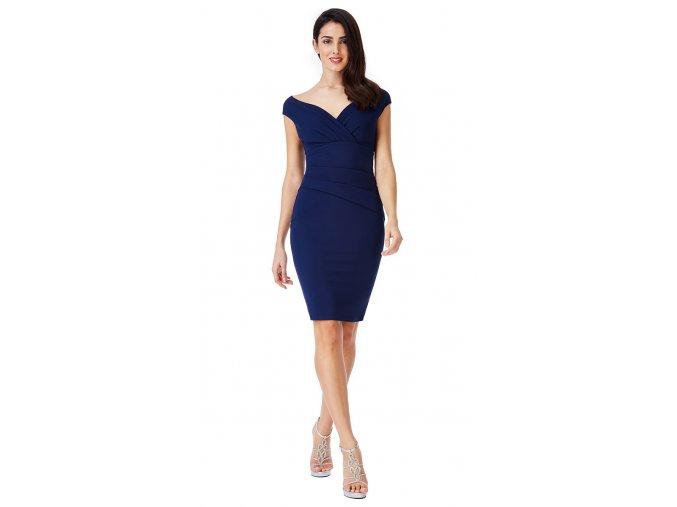 Elegantní pouzdrové modré šaty