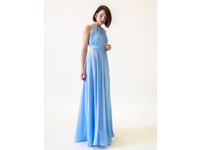 Dlouhé šaty pro družičky světle modré