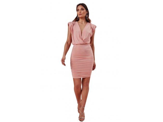 Elegantní šaty s řasenou sukní a vycpávkami v ramenou