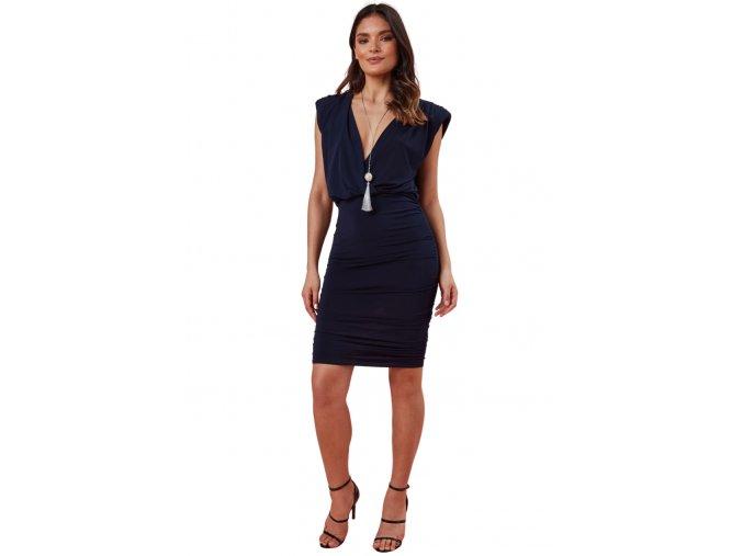 Koktejlové modré šaty