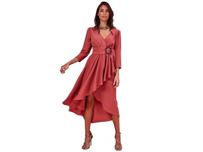 Asymetrické šaty s tříčtvrtečním rukávem
