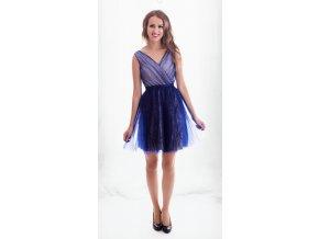 Modré tylové šaty do tanečních