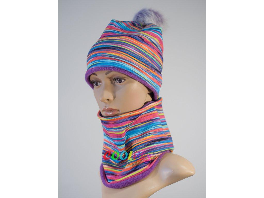 Zimní holčičí čepice barevné pruhy