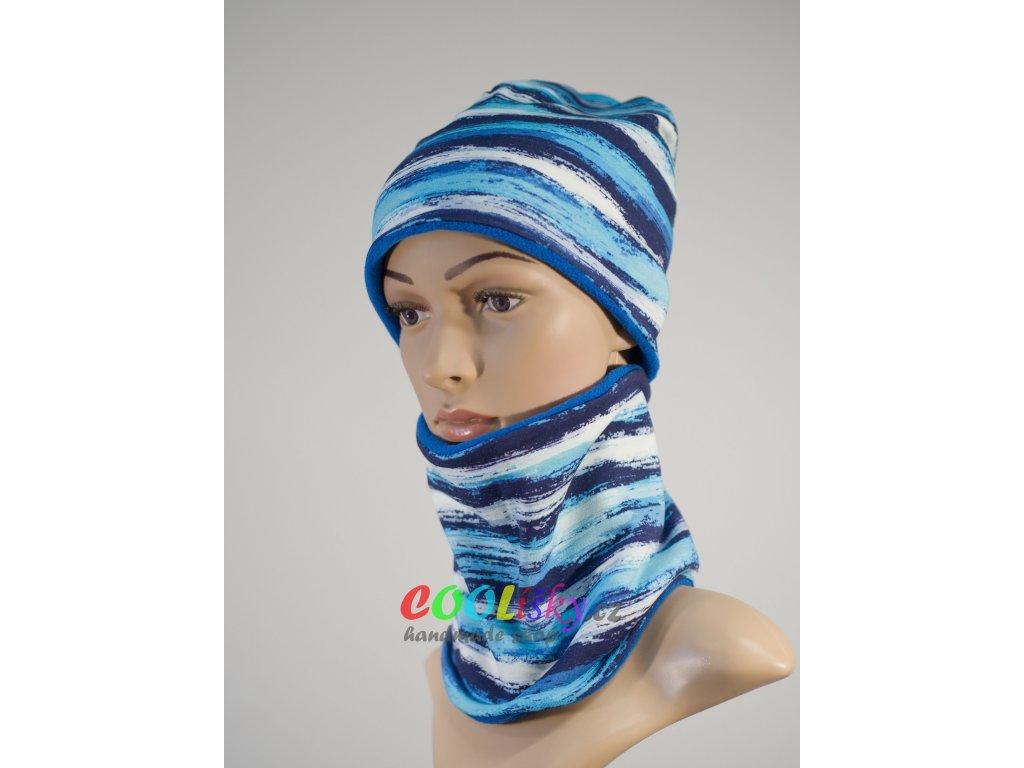 Zimní klučičí čepice modré pruhy