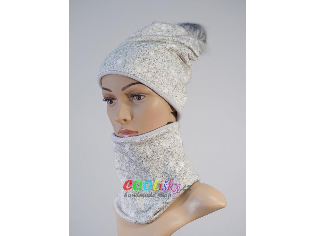 Zimní holčičí čepice s nákrčníkem šedá vločky