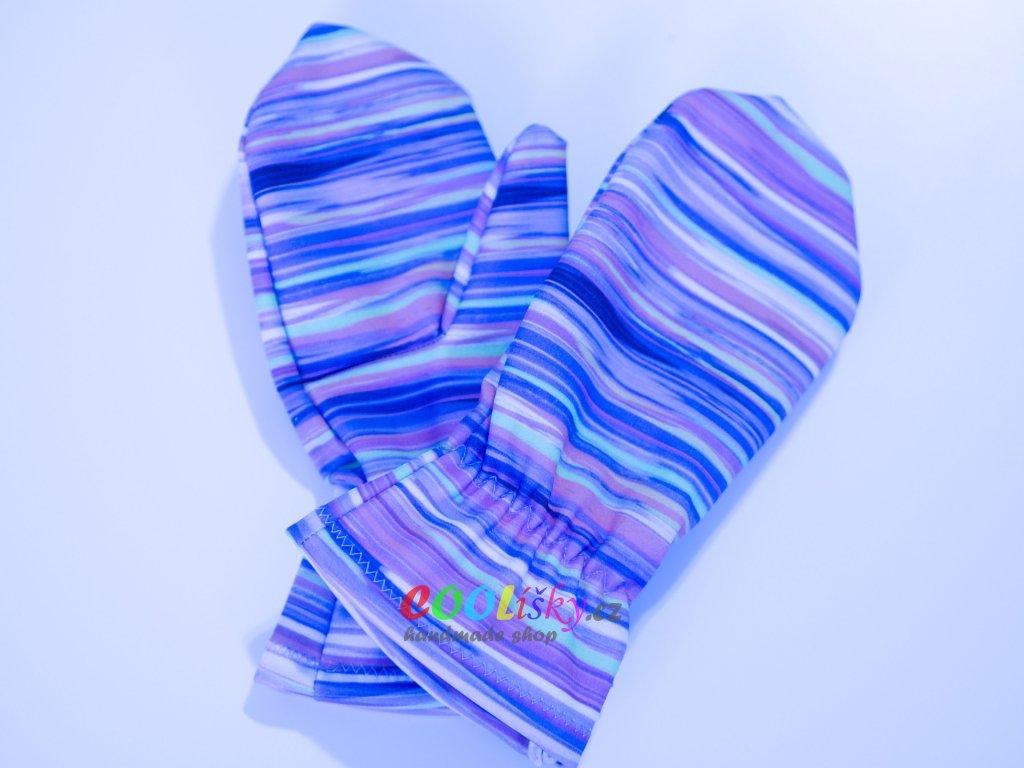 Softshellové rukavice dívčí barevné pruhy