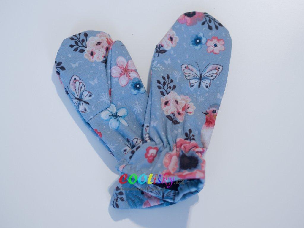 Softshellové rukavice dívčí ptáčci