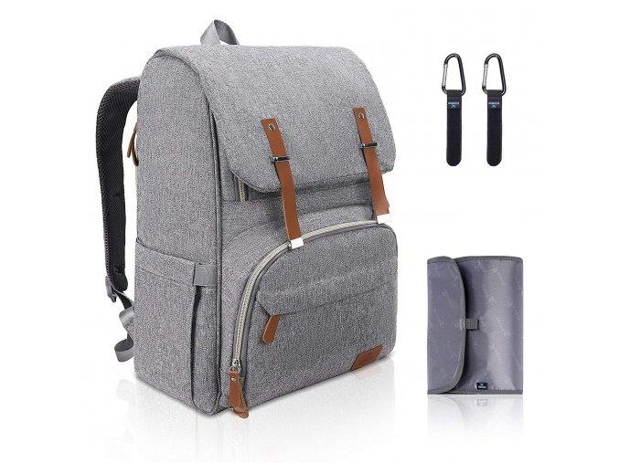 Multifunkční přebalovací batoh šedý
