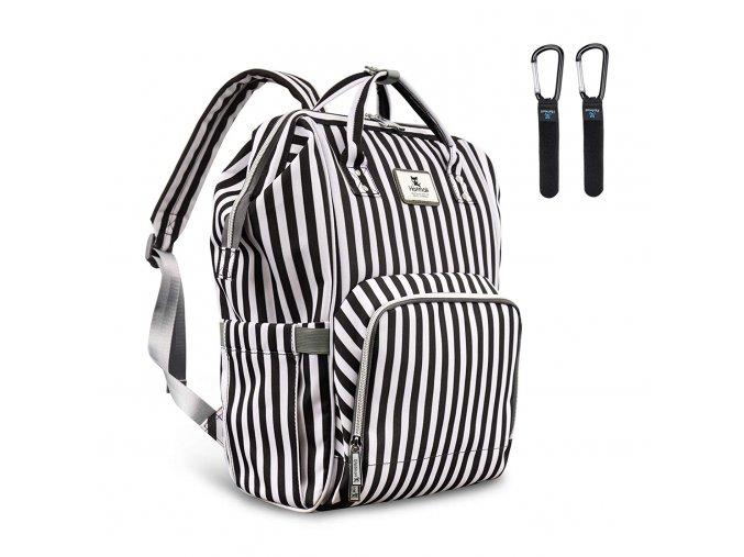 Přebalovací batoh černobílý proužky