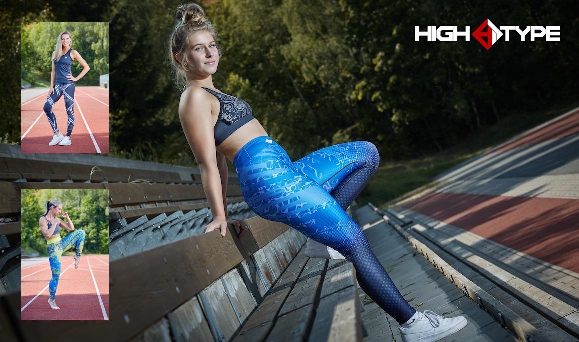 HighType legíny modré ombré lesk