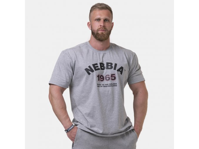 NEBBIA Golden Era tričko 192 světle šedé