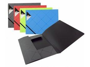 Desky na spisy s gumou, A4, 3 klopy, čtverečkový potisk